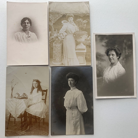 Collection of 5 Late Victorian Real Photo Postcards