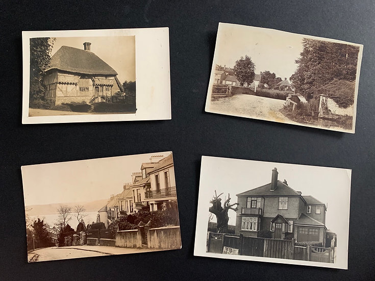 4 Postcards of anonymous houses - UK