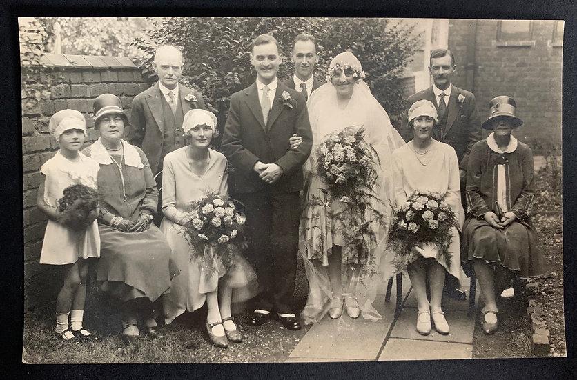 1920s Wedding Party Postcard