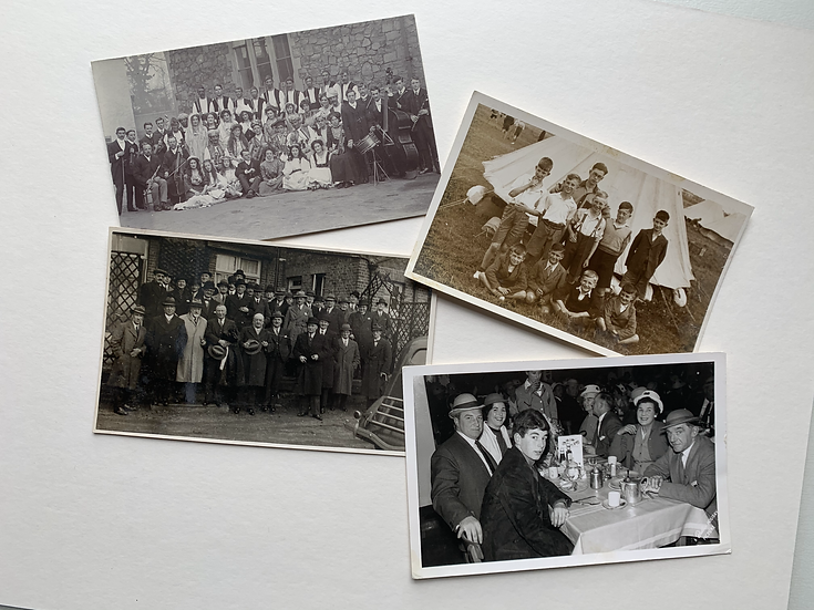 Set of 4 Real Photo Postcards - Groups