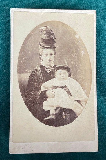 Fashionable Victorian Lady and Baby