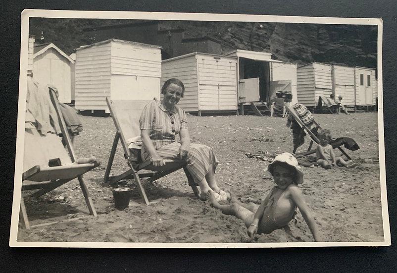 1937 Seaside Candid Postcard
