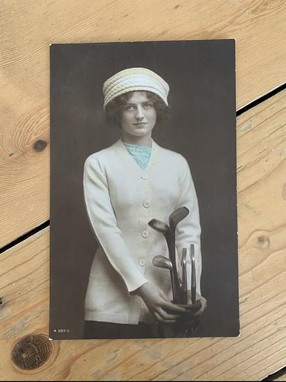 Lady Golfer Rotary Photo Postcard