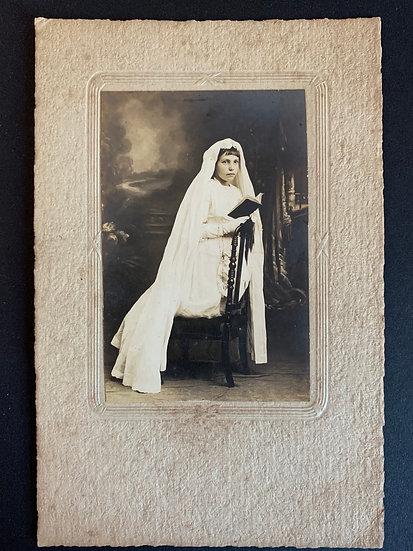 Beautiful Communion Girl mounted Photo