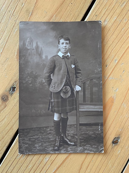 Handsome Boy in Traditional Scottish Outfit