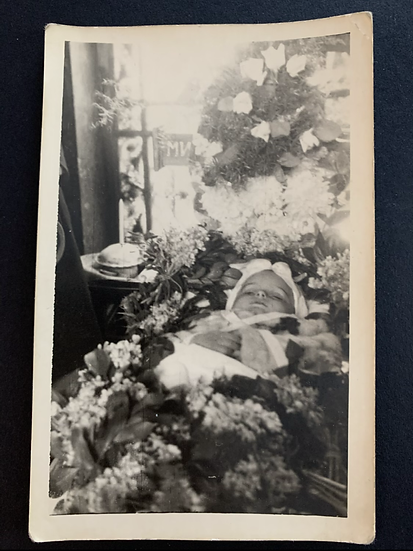 Post Mortem Young Child Surrounded by Flowers