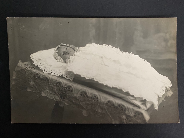 Post Mortem Baby Laid Out Postcard