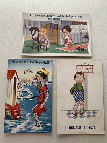 3 x Fun Comedy 1920s Illustrated  Postcards