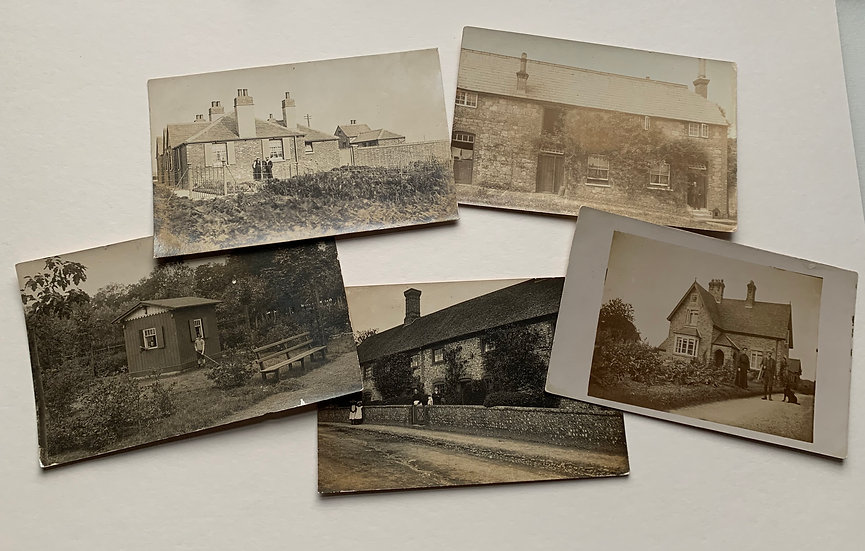 5 x Real Photo Postcards - People at their homes