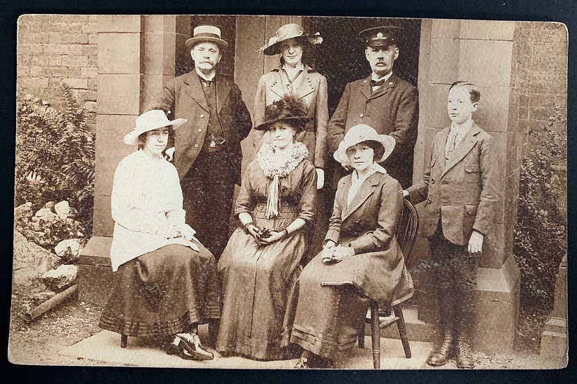 Fancy Edwardian Family Postcard