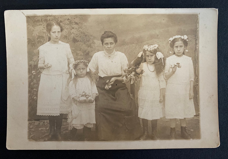 Unhappy Family holding flowers