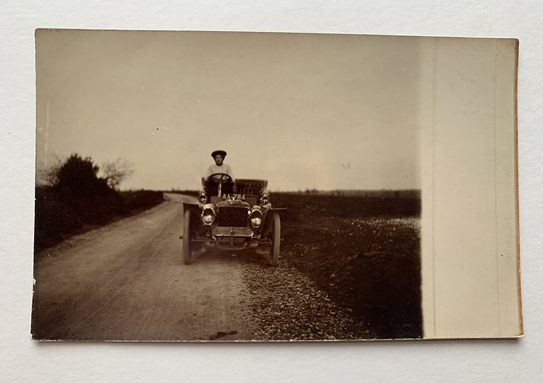 Early Postcard with Vintage Car