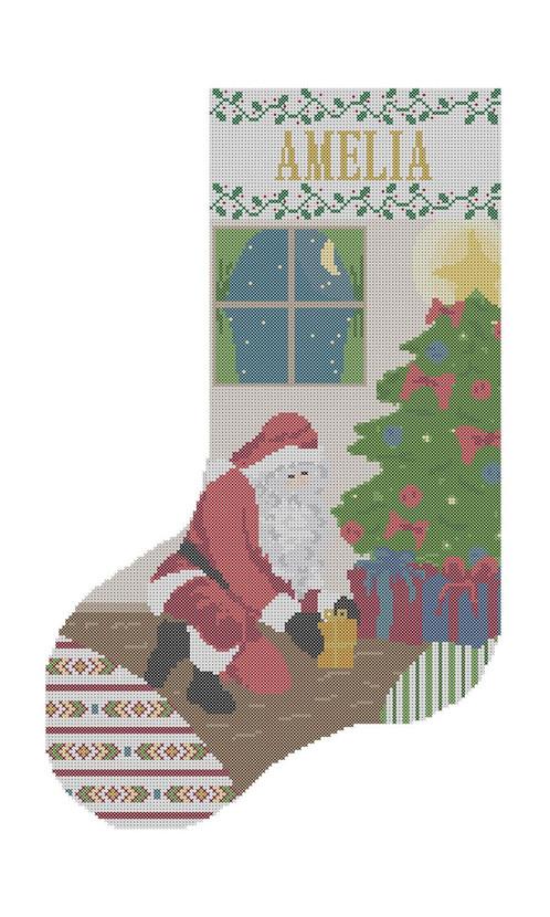 santa christmas stocking cross stitch pattern