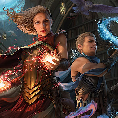 A pair of twins, the woman with red lightning and the man with blue frost magic in their hands.