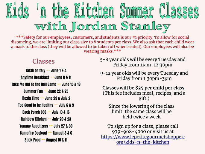 Kids 'n the Kitchen Summer Classes 2021