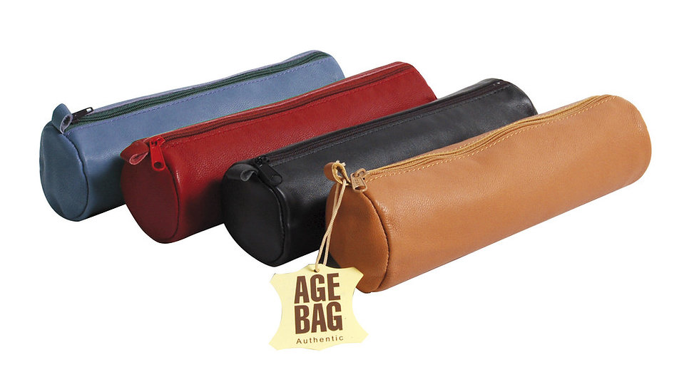 Age-Bag Leather Pencil Case Large Round