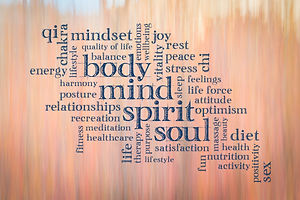 body, mind, spirit and soul cloud - text