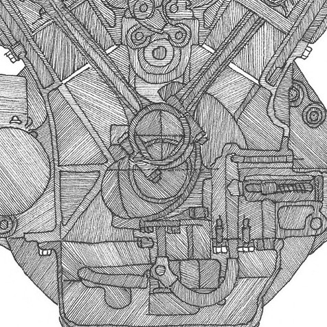 Packard V12 detail