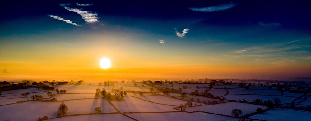 snow derbyshire drone aerial sunrise