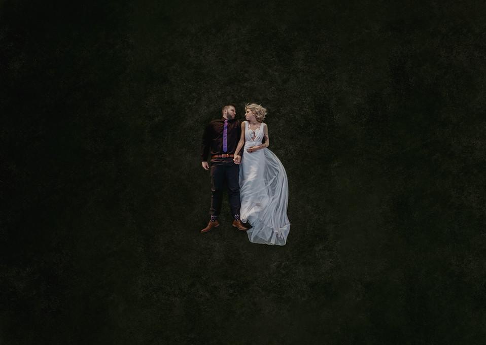 drone wedding couple