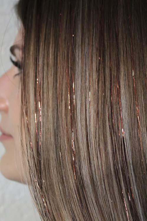 Bronze - Tape-in Tinsel Extensions