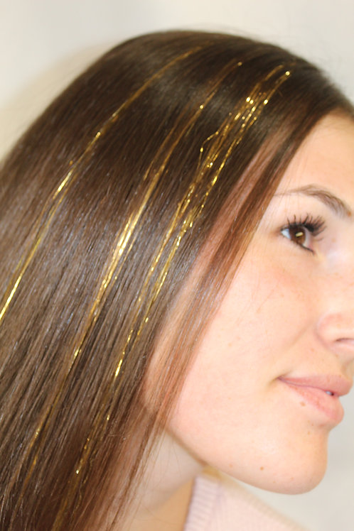Gold - Tape-in Tinsel Extensions