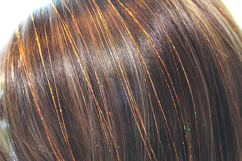 Orange HoloSparkle - Tape-in Tinsel Extensions