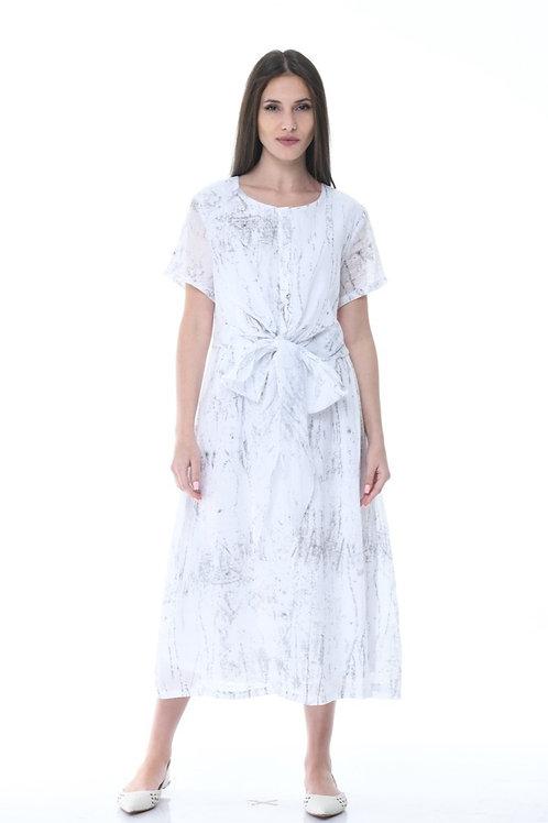 White Grunge Textured Dress