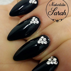 Black Nails Swarovski Nails Art Design.j