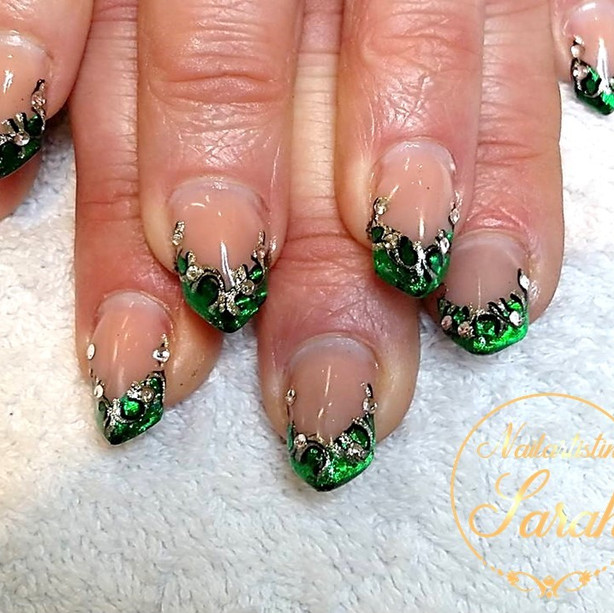 Edge nail Green Folien Technik Nailart A