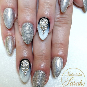 Eis french Nailart Design Silber Glitzer
