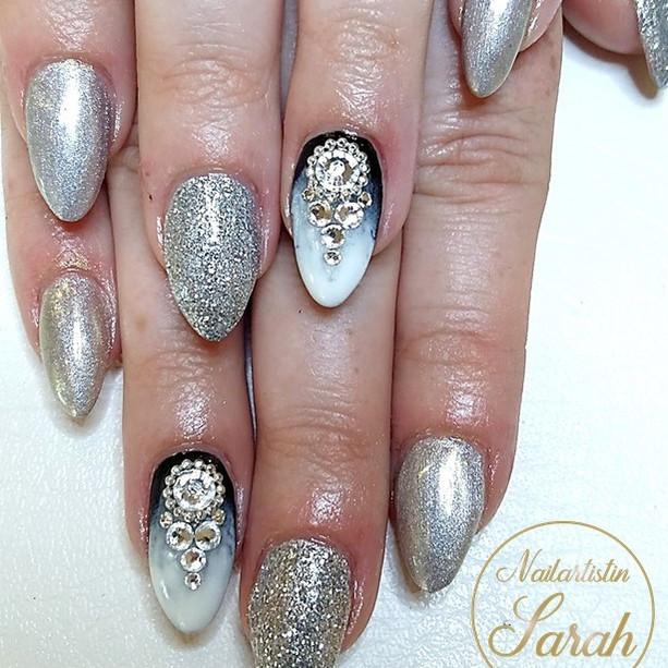 Eis french Nailart Design Silber Glitzer