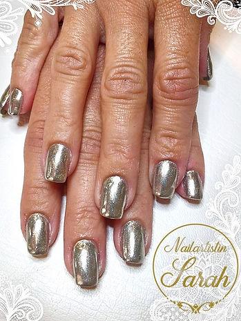 Chrom Mirror Nails nailart naildesign.jp