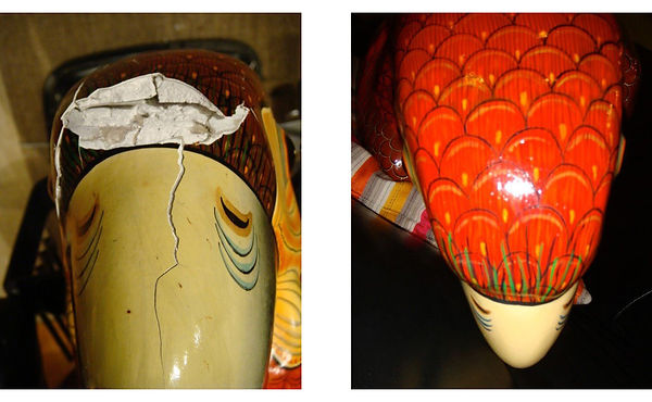 Sergio Bustamante Red-Headed Parrot BEFORE and AFTER