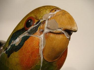 Sergio Bustamante Parrot | Jeff Meyer Art | Ceramic Restoration