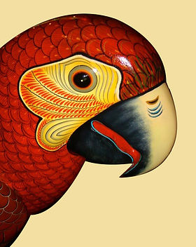 Sergio Bustamante Red-Headed Parrot | Jeff Meyer Art | Paper Mache Restoration