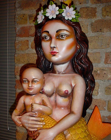 Sergio Bustamante Mermaid and Child | Jeff Meyer Art | Ceramic Restoration