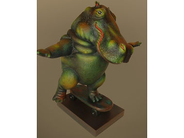 Sergio Bustamante Hippo on Skateboard | Jeff Meyer Art | Ceramic Restoration