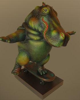 Sergio Bustamante Hippo on Skateboard | Jeff Meyer Art | Ceramic Restoration
