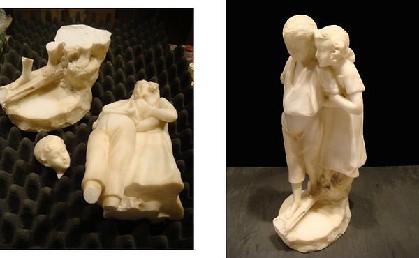 Antique Marble Children BEFORE and AFTER