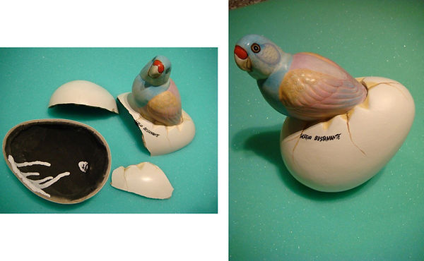 Sergio Bustamante Small Bird Egg BEFORE and AFTER