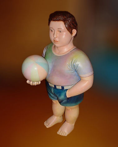 Sergio Bustamante Boy with Ball | Jeff Meyer Art | Ceramic Restoration