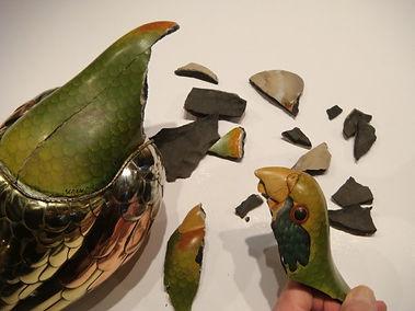 Sergio Bustamante Parrot   Jeff Meyer Art   Ceramic Restoration