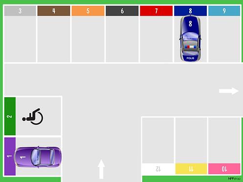 Parkeringsplats med bilar