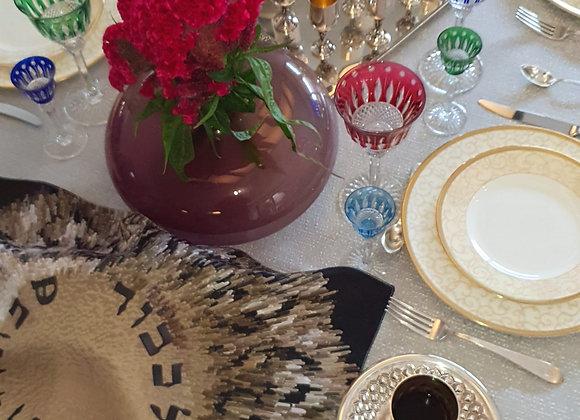 Modern Judaica challah cover Silver Burst designer shabbat gift
