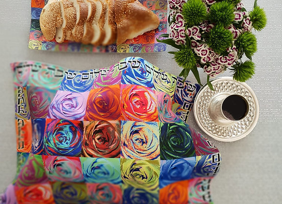 Modern Judaica challah cover warhol pop-art Judaica flowers contemporary designer shabbat gift