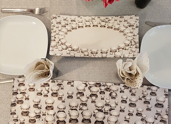 Silver Pearls Set: Challah Cover and Tray