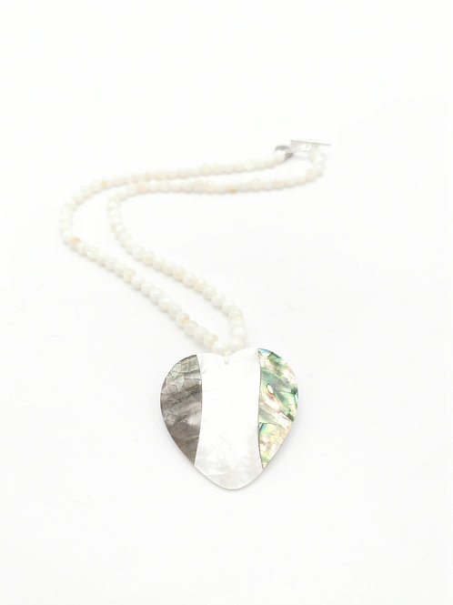 Collier Coeur de l'Océan Blanc