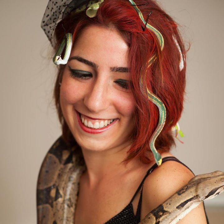 Medusa for Halloween with a REAL snake, 2012 (c) Arthur Sugden
