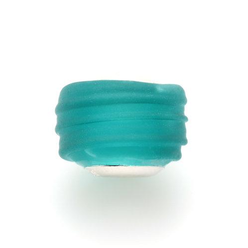 Glass Bead | Drk Green Beach Glass Ridges